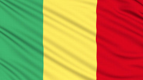 Mali flag, with real structure of a fabric Animation
