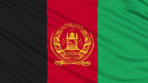 Afghanistan flag, with real structure of a fabric Animation