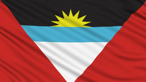 Antigua and Barbuda flag, with real structure of a fabric Animation