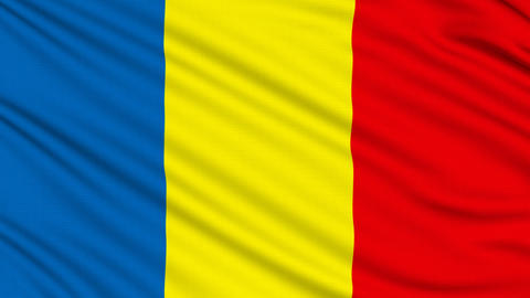 Romanian flag, with real structure of a fabric Animation