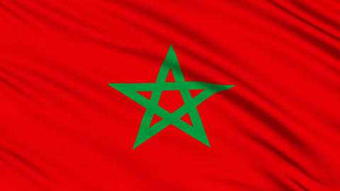 Morocco flag, with real structure of a fabric, Stock Animation