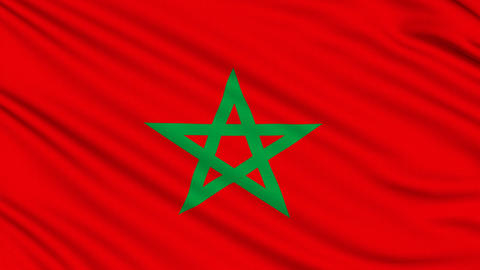 Morocco flag, with real structure of a fabric Animation