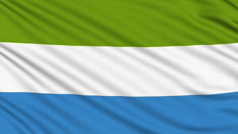 Sierra Leone Flag, with real structure of a fabric Animation
