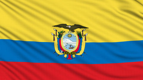 Ecuadorian Flag, with real structure of a fabric Animation