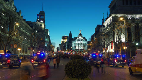 People protesting in Cibeles Square, in Madrid, Sp Stock Video Footage