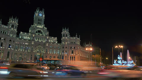 Traffic At Cibeles Square ,Madrid,Spain stock footage