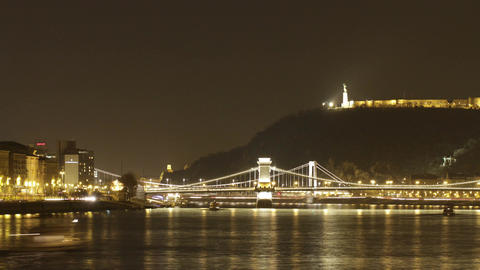 4 K Budapest by Night Timelapse 39 Stock Video Footage