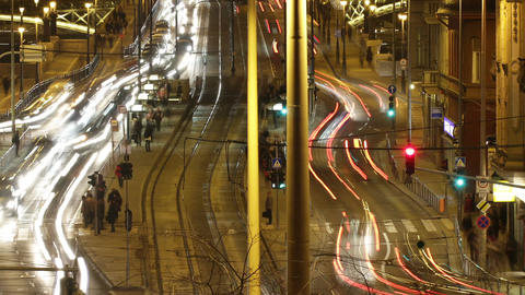 Budapest by Night Timelapse 89 zoom Stock Video Footage