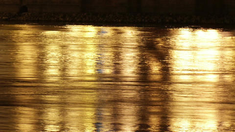 City River by Night Reflection Timelapse Stock Video Footage