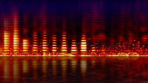fiery equalizer with reflection loopable backgroun Stock Video Footage