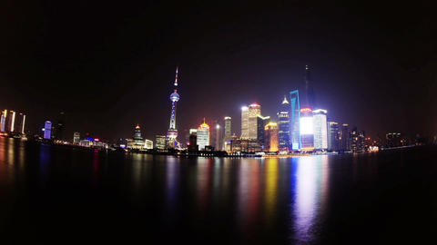 Shanghai night skyline Footage