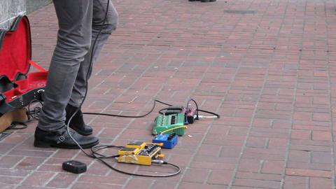 Sidewalk Busker Guitarist Shredding A Solo Footage