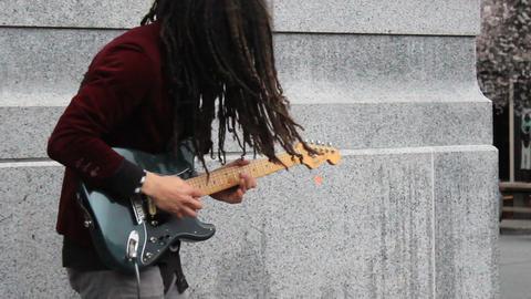 Sidewalk Busker Guitarist With Dreds Footage