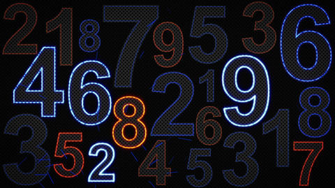 glowing numbers loopable background, Stock Animation