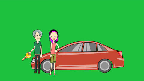 Couple Buying A New Car, Loop: Green Screen + Matt stock footage