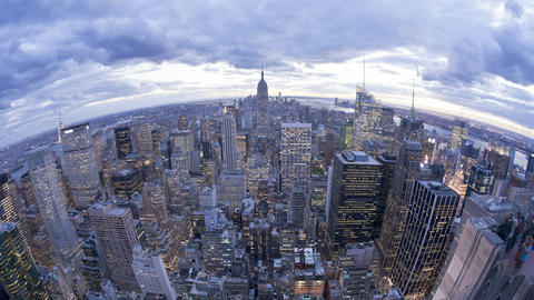 Wide angle view of the Manhattan Skyline from the  Footage
