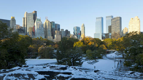Dawn Skyline Of Uptown Manhattan And Central Park  stock footage