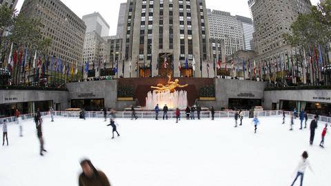 Ice Skating Rink below the Rockefeller Centre buil Footage