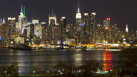 Night view of Midtown Manhattan across the Hudson  Footage