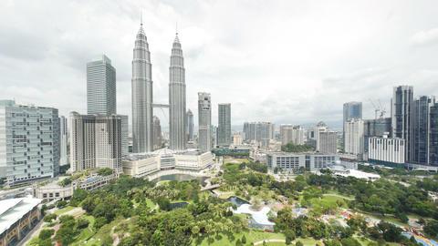 View of the Petronas Twin Towers and KLCC Park, Ku Footage