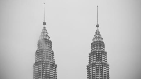 Close up detail view of the Petronas Twin Towers,  Footage