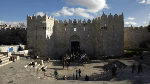 The Old City, Damascus Gate Middle East, Israel, J stock footage