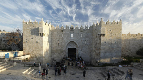 The Old City Damascus Gate, Jerusalem, Israel, Mid Footage