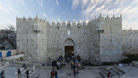 The Old City Damascus Gate, Jerusalem, Israel, Mid Footage