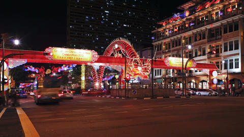 New Bridge Road, Chinatown, Chinese New Year Celeb stock footage