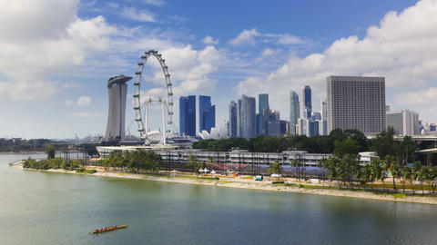 Marian Bay and the Singapore Flyer viewed towards  Footage
