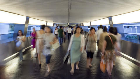 China, Hong Kong, People on busy walkway in Centra Footage