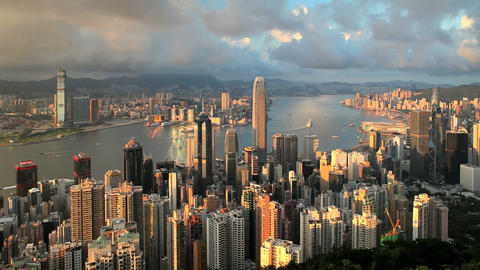 China, Hong Kong, Business District With Bank Of C stock footage