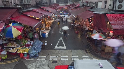 China, Hong Kong, Central, busy street market on a Live Action