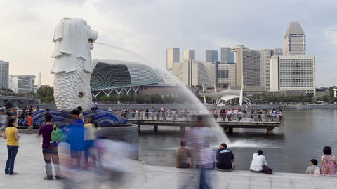 Singapore, Merlion Fountain, Esplanade In Backgrou stock footage