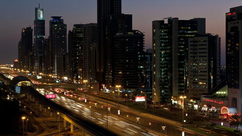 T/L WS HA Sheikh Zayed Road night traffic , Dubai, Footage