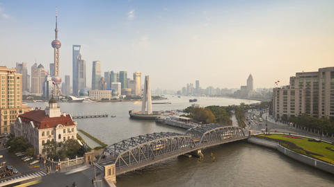 T/L New Pudong Skyline, Waibaidu (Garden) Bridge,  stock footage