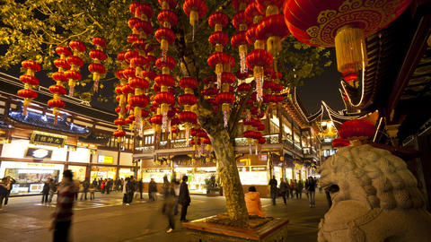 T/L Lanterns hanging in Yuyuan Bazaar district at  Footage