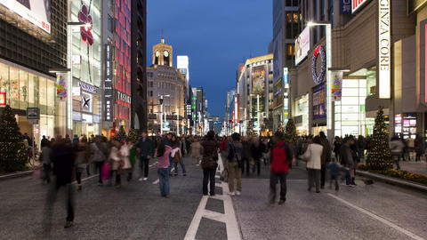 T/L wide view along Chuo-dori, the most fashionabl Footage