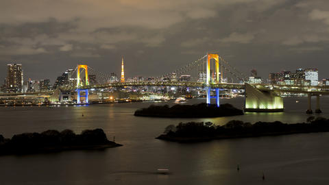 T/L Tokyo Tower And Rainbow Bridge At Night, Viewe stock footage