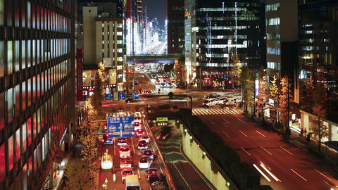 T/L Elevated view along Chuo-dori, the most fashio Footage