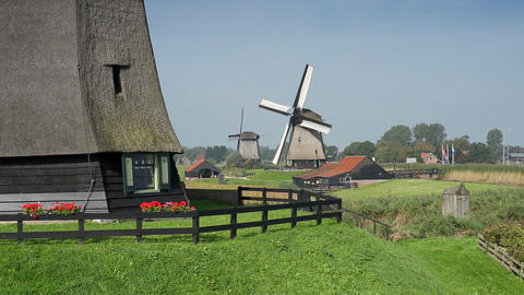 Traditional windmill at Schermerhorn, North Hollan Footage