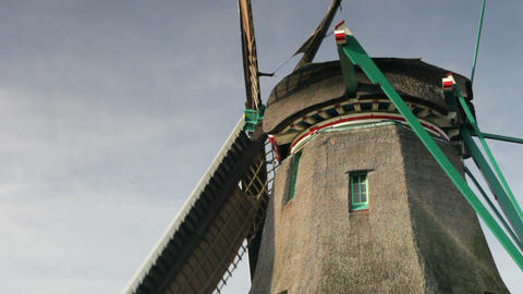 Traditional windmill at Zaanse Schans, Amsterdam,  Footage