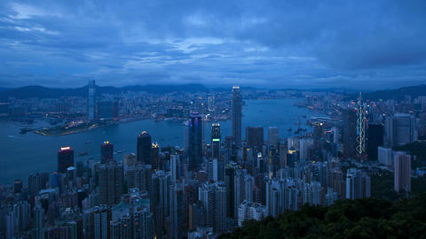 View of Victoria Harbour and city Skyline, Hong Ko Footage
