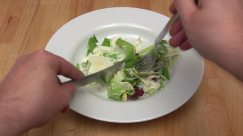 Eating Salad - Time Lapse Footage