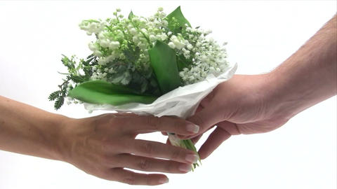 Giving Away A Bunch Of Flowers stock footage