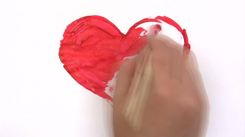 Painting a Red Heart - Time Lapse Footage