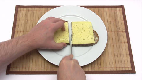 Piece Of Bread And Cheese - Time Lapse stock footage