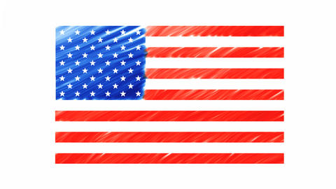 Drawing The American Flag stock footage