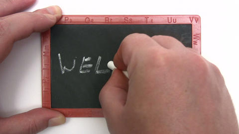Chalkboard - Welcome stock footage