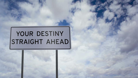 Sign Destiny Ahead Clouds Timelapse stock footage